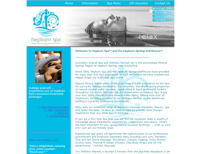 Hepburn Spa Website